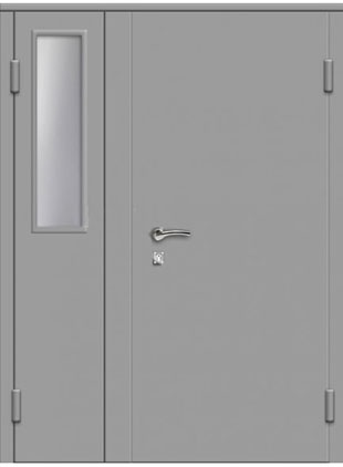 Тамбурная дверь с окном окрас серый