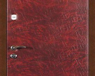 Входные двери с винилискожей индия (вишня с разводами)